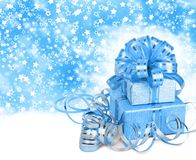 Gift box in blue wrapping paper Royalty Free Stock Photo