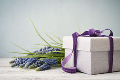 Gift box with bouquet of hyacinth Royalty Free Stock Image