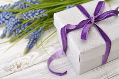 Gift box with bouquet of hyacinth Stock Photography