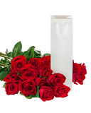 Gift Box and Bouquet from Roses Flowers Isolated on White. Stock Photo