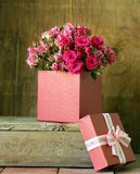 Gift box with a bouquet of roses Stock Photography