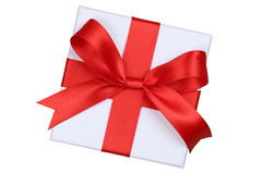 Gift box with bow from above for gifts on Christmas, birthday or Royalty Free Stock Photos