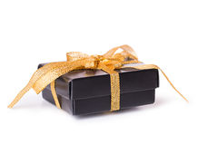 Gift box bow black yellow Stock Image