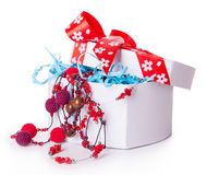 Gift box bow christmas balls Royalty Free Stock Photo