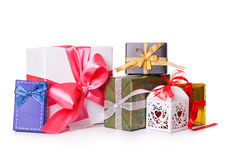 Gift box bow christmas balls Royalty Free Stock Photography