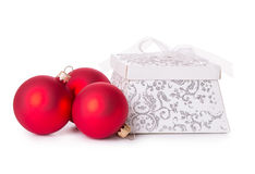 Gift box bow christmas balls Stock Photo