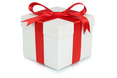 Gift box bow Christmas gifts birthday Valentines day isolated on Royalty Free Stock Images