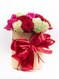 gift box bow with colorful roses for holiday Stock Photo