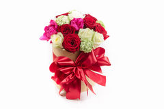 Gift box bow with colorful roses for holiday. Gift box with colorful roses on Valentine's day holiday Stock Photography