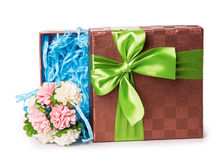 Gift box bow flowers Royalty Free Stock Image