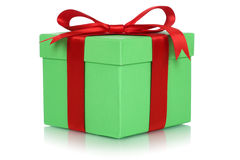 Gift box with bow for gifts on birthday or Valentines day Stock Images
