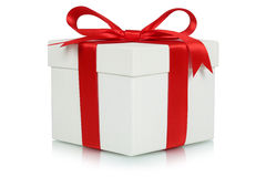 Gift box with bow for gifts on Christmas, birthday or Valentines. Day isolated on a white background Stock Images