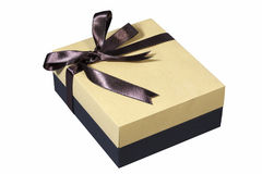 Gift box with bow for gifts on Christmas, birthday or Valentines Stock Photo