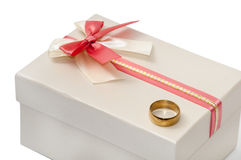 GIFT BOX BOW GOLDEN RING Royalty Free Stock Images