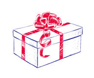 Gift box with bow. Hand drawn gift box with bow Stock Images