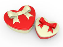 Gift box, bow and heart Royalty Free Stock Photo