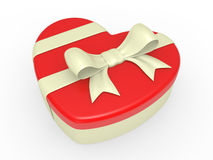 Gift box, bow and heart Stock Photography