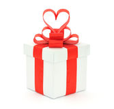 Gift box, bow and heart Stock Photo