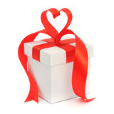 Gift box, bow and heart Royalty Free Stock Image
