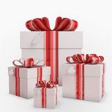 Gift box with Bow & heart tag Royalty Free Stock Photography
