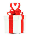Gift box, bow and heart Royalty Free Stock Photography