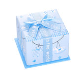 Gift box with bow isolated. Blue gift box with bow isolated on white background Royalty Free Stock Images