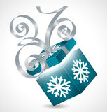 Gift box with bow isolated on white. Gift box with silver bow and snowball Stock Illustration