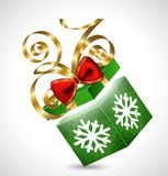Gift box with bow isolated on white. Gift box with golden bow and snowball Vector Illustration