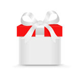 Gift box. With a bow isolated on the white Stock Photography