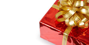 Gift box with bow isolated on white Stock Image