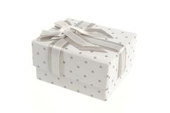 Gift box with bow isolated on white Royalty Free Stock Photography