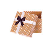 Gift box with bow isolated. On white background Stock Photography