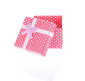 Gift box with bow isolated. On white background Royalty Free Stock Photo
