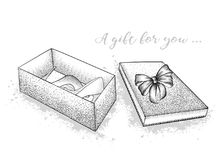 Gift box with a bow in the middle of which are shoes. St. Valent stock illustration