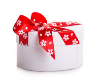 Gift box bow red heart Royalty Free Stock Images