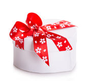 Gift box bow red heart Stock Photo