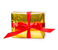 Gift box bow red yellow Stock Image