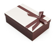 Gift box with bow and ribbon chocolate color Stock Image