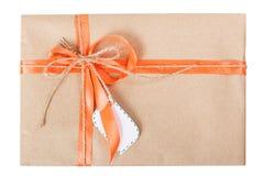 Gift box bow ribbon tag Royalty Free Stock Images