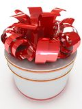 Gift box with bow and ribbons. Royalty Free Stock Photography