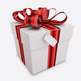 Gift box with Bow & Tag isolated Stock Image