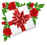 Gift box with bow from top with red rose flower. Gift box with bow from top view, with red rose flowers and leaf. Vector illustration isolated on white for Royalty Free Stock Photography