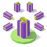 Gift box with a bow. Vector isometric low poly vertical gift box with a bow Stock Photos