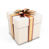 Gift box with bow on white Royalty Free Stock Photos