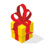 Gift box with bow. Yellow box and red tape.  Royalty Free Stock Photos