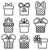 Gift box. Es with bows vector icon set royalty free illustration