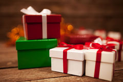 Gift Box. Es surprise on the wooden table royalty free stock photos