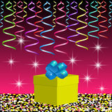 Gift box and bright ribbons on the background with spangles and flashes. Image for holiday, party or celebration. Vector illustration EPS10 Stock Image