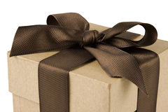 Gift Box and Brown Bow Royalty Free Stock Image