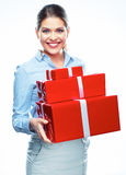 Gift Box. Business bonus. Business woman Stock Photos